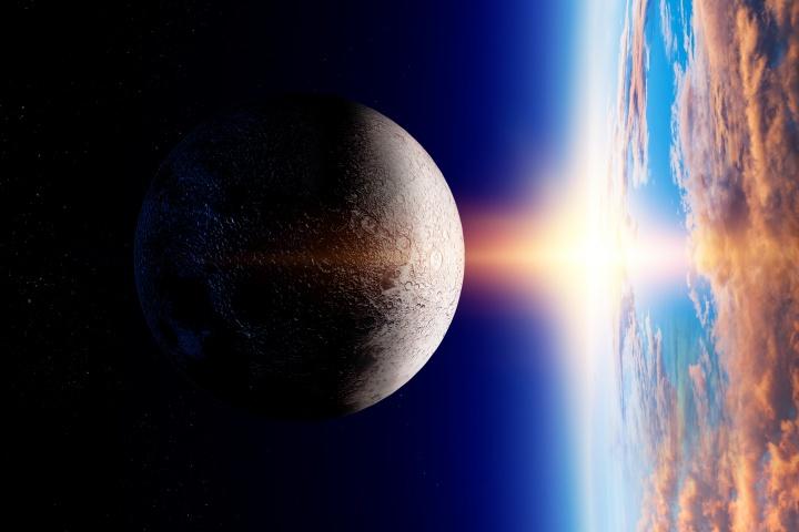 Artist illustration of sun burst hitting the Earth.
