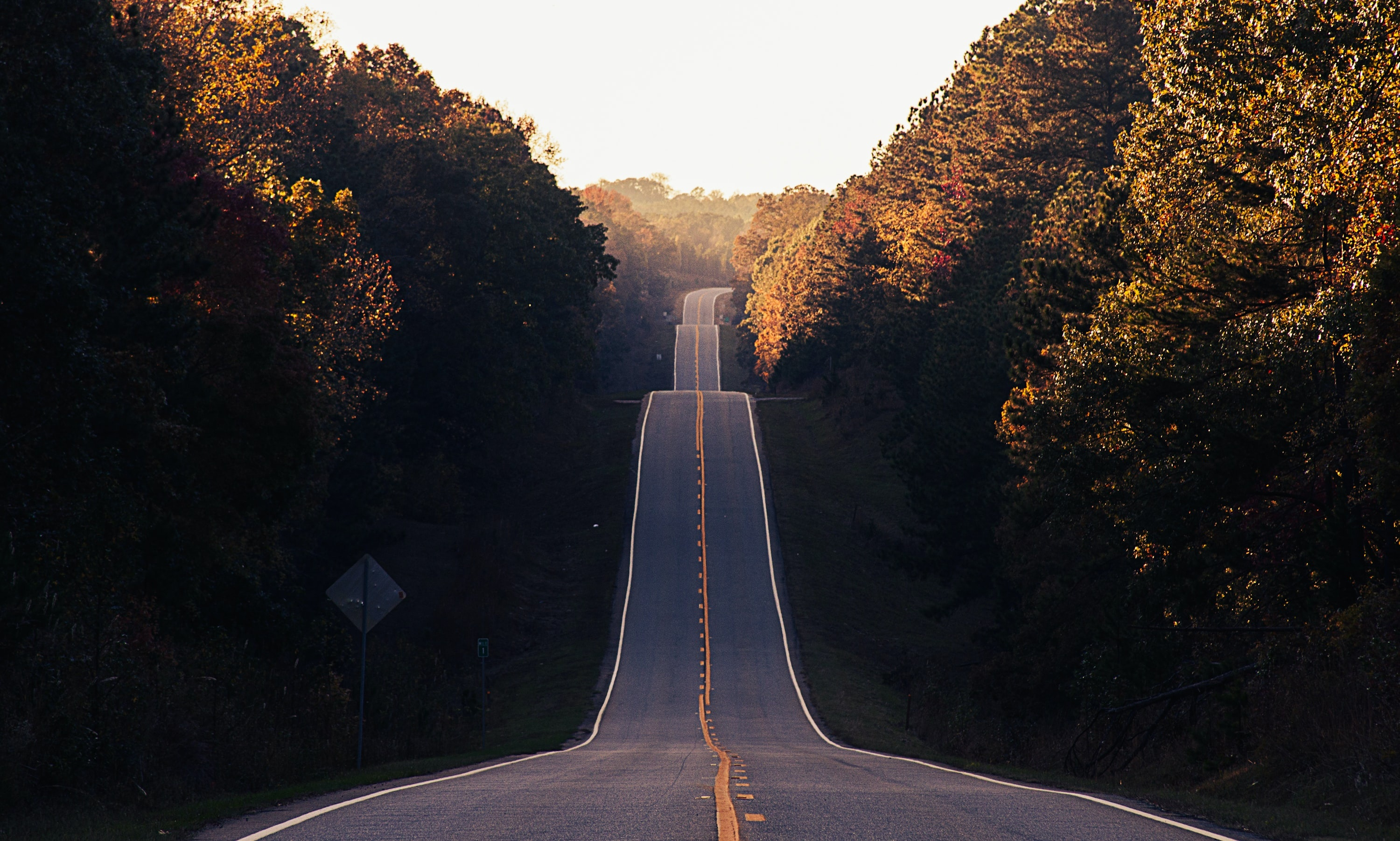Photo of a long road going into the distance with many large bumps.